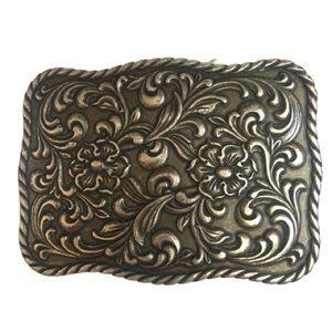 Silver Metal Belt Buckle Floral Rectangular Design